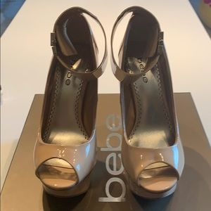 Bebe Nicola Nude Patent Leather Heels